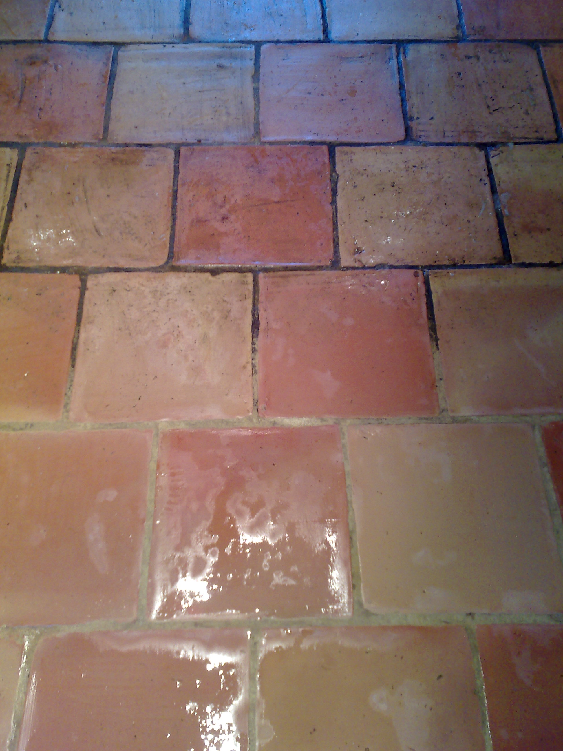 Before and after Quarry tile and grout cleaning in Kersey